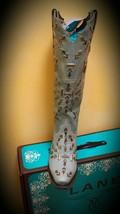 Stunning! LaneCowgirl Boot Snowflake Light Turquoise diamond  silver  studs - $399.00
