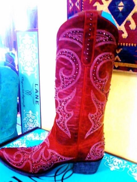 Lane RED studded Cowgirl Boot Knockout gorgeous Leather Handmade Mexico - $450.00