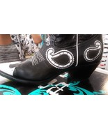 BLING! Bodacious Boot Rocker Presley Blk/wht Rocker Cowgirl Svarowski Bling - $499.00