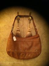 New Xo Genuine Brown Leather Hand Ba G Size: Me Diu M   Co Lo R Tan!! Excellent Cond - $49.99