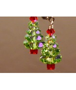 CHRISTMAS TREE EARRINGS made w/Swarovski Crystals w/ Sterling Silver - $23.95+