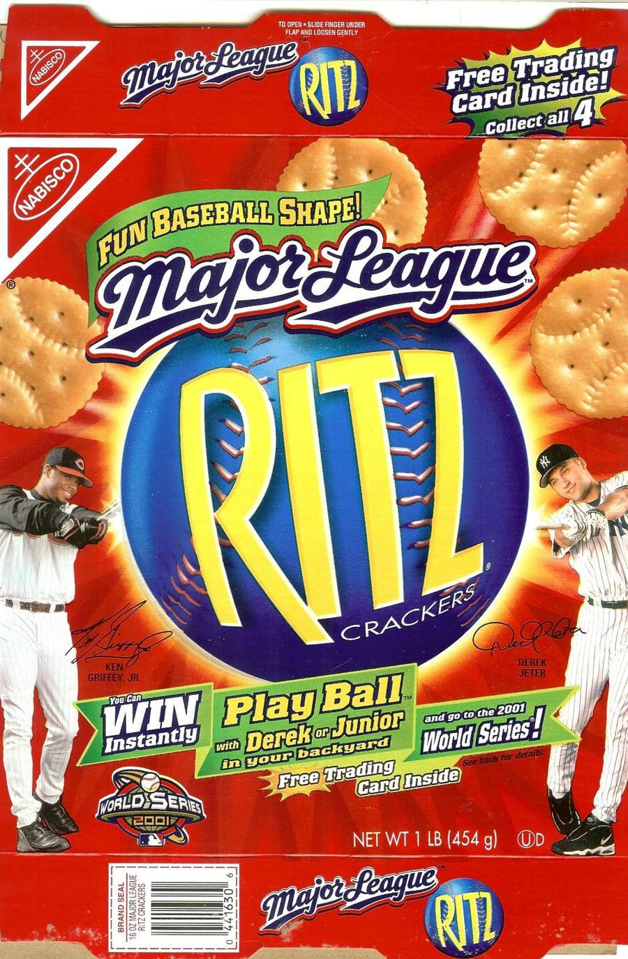 Primary image for ritz crackers box ken griffey jr derek jeter baseball card sealed inside 2001