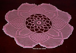 Rose Pink Evening Primrose Bloom Filet Crochet ... - $23.50