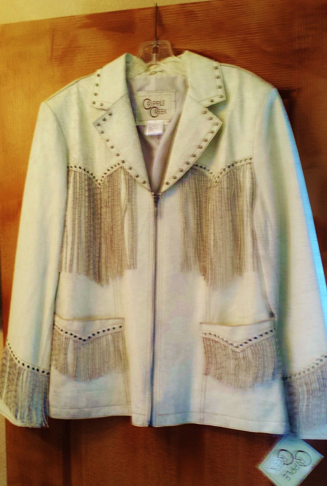 Primary image for Beautiful Cripple Creek Leather coat  Cream w fringe and buckstitching. NEW!!XL