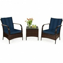 Durable 3pc Navy/Brown Patio Rattan Furniture Set- - $479.58