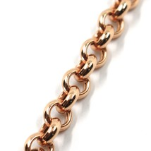 18K ROSE GOLD ROLO BRACELET 8.1 INCHES, ROUND 7 MM LINK, MADE IN ITALY image 2