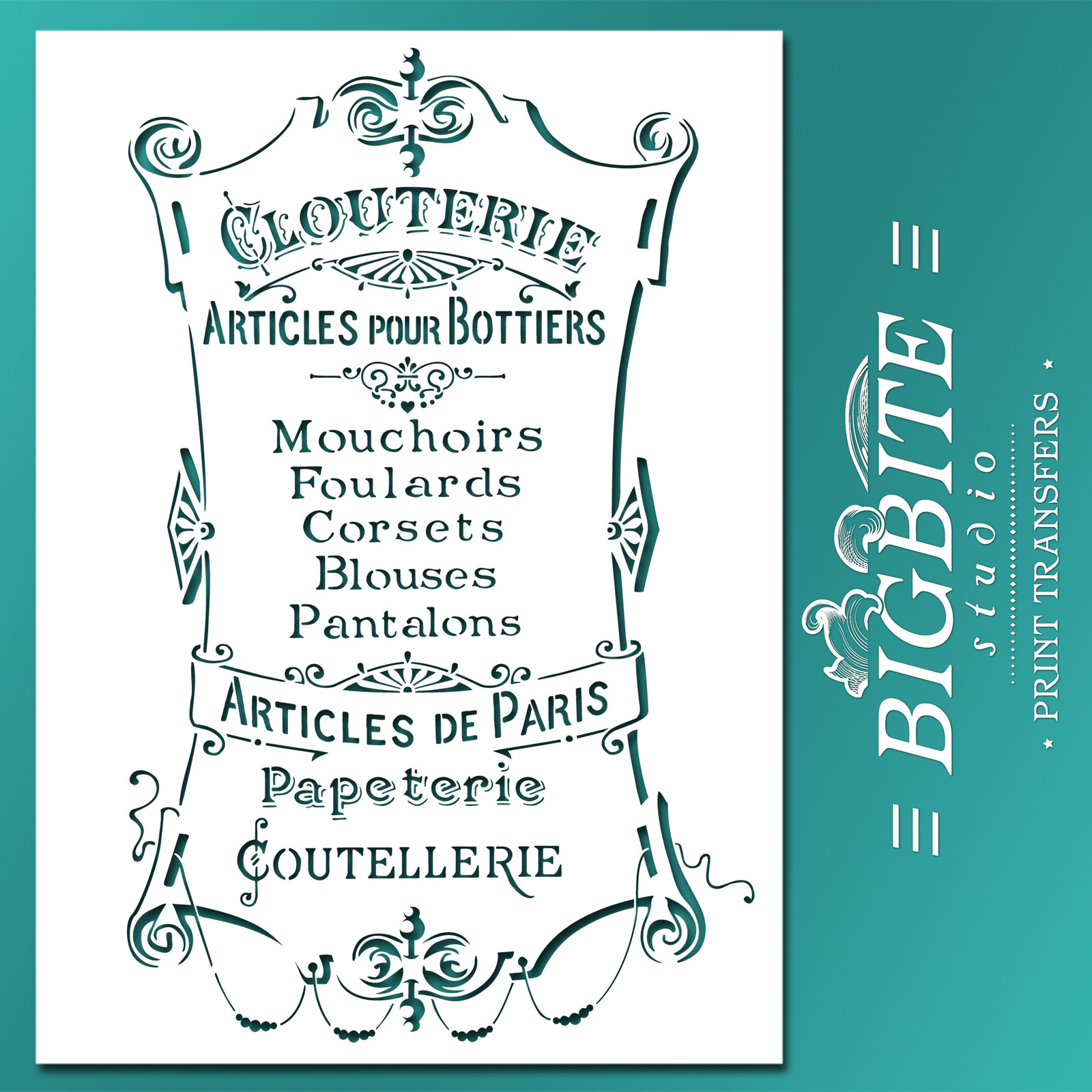 Furniture/Wall Stencil –Articles de Paris –Clouterie Advert for Craft CUSTOMISED