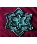 Aqua 6-Pointed Star with Navy - Holiday Crochet Art by RSS Designs In Fiber - $15.00