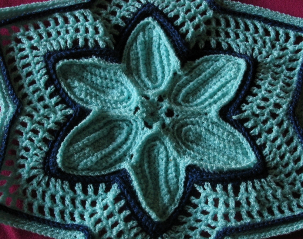 Aqua 6-Pointed Star with Navy - Holiday Crochet Art by RSS Designs In Fiber