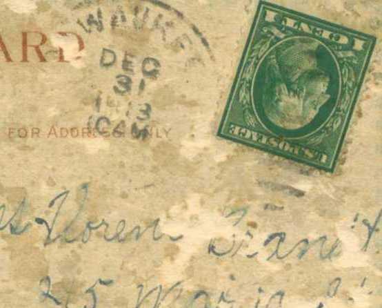 Pewaukee Wisconsin Vintage Postcard Dec 31,1913 Dutch Girl One Cent Stamp