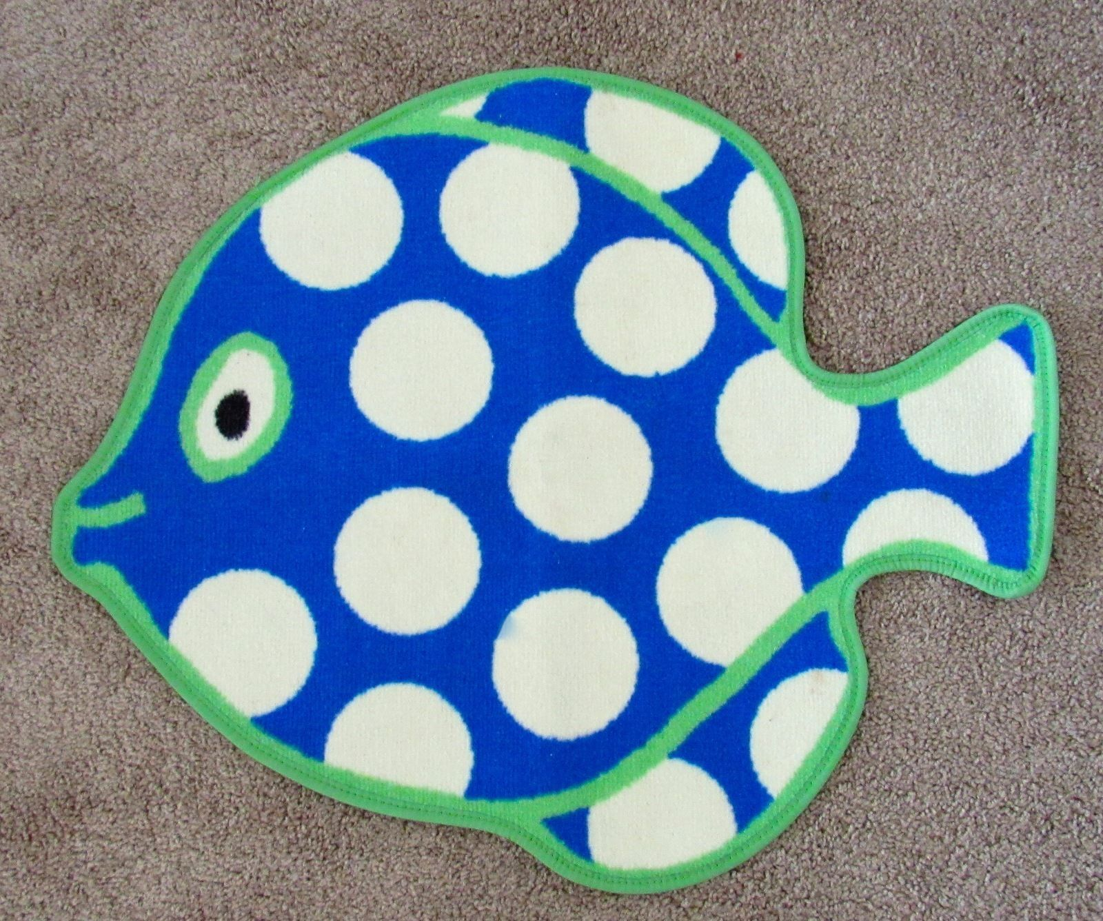 Cute Fish Shaped Polka Dot Kids Bathroom Bathmat Rug Multi-Color Boys & Girls