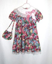 Rare Editions Easter Party Dress with Bag Purse Bright Floral Size 6 - $7.99