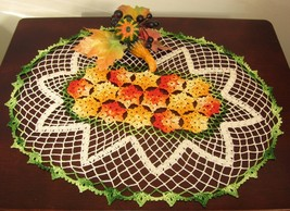 Yellow and Orange Flower Lace Oval - Seasonal C... - $30.00