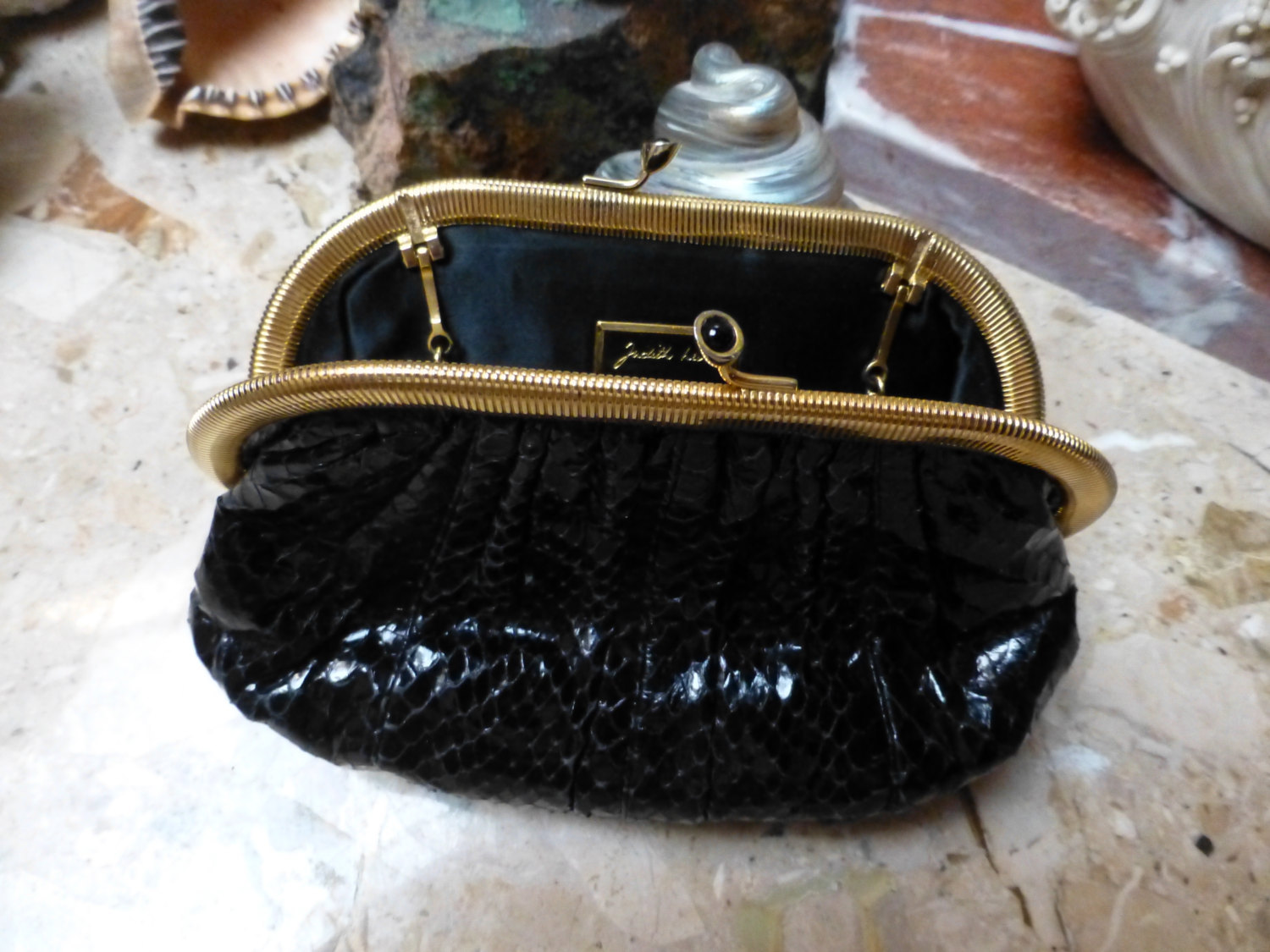 Primary image for classic judith leiber black snakeskin hinged vintage 1990's evening purse . What