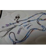 crystal 54''  lariat wrap with hand blown beads and charms you can wear ... - $90.00
