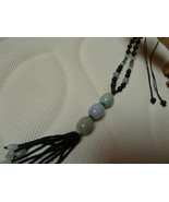 WOW black jade necklace with 3 focal beads jadegreen,jade lavender.free ... - $75.00