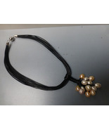 14 large Baroque ZEN Pearls on 13 strand leather necklace steampunkish - $138.00