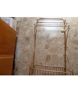 Vintage Standing Brass triple towel rack with bottom holding shelf - $99.00