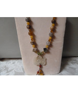 vintage jade pendant with autumn ,fancy,poppy, jasper,agate, pearl ,face... - $95.00