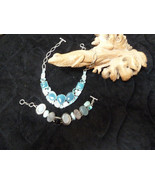WOW chalcedony collar necklace,  larimar, topaz , moonstoneand mother of... - $165.00
