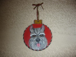 MINIATURE SCHNAUZER WOOD HAND PAINTED ORNAMENT ... - $14.50