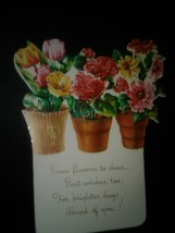 Flower Pots Die Cut Vintage Card - £3.06 GBP