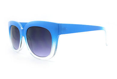 Super Retro Sunglasses Womens Thick Horn Rim Fashion Frame 2-Tone BLUE