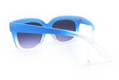 Super Retro Sunglasses Womens Thick Horn Rim Fashion Frame 2-Tone BLUE