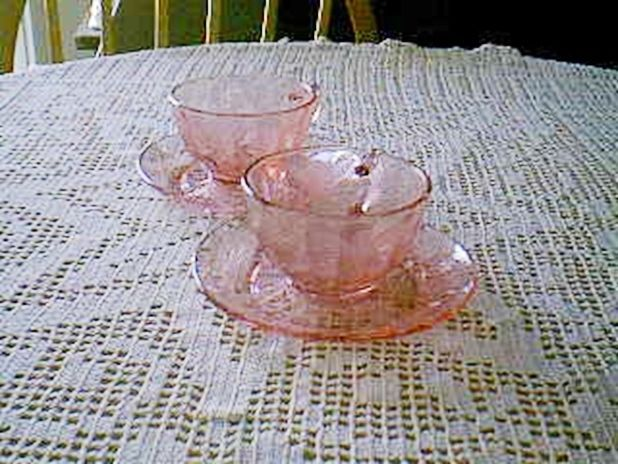 Primary image for Jeannette Glass Pink Floral Poinsettia Cups & Saucers