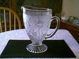 Jeannette Glass Crystal Iris & Herringbone Foot... - $21.78