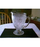 Jeannette Glass Crystal Iris & Herringbone Footed Pitcher - $21.78