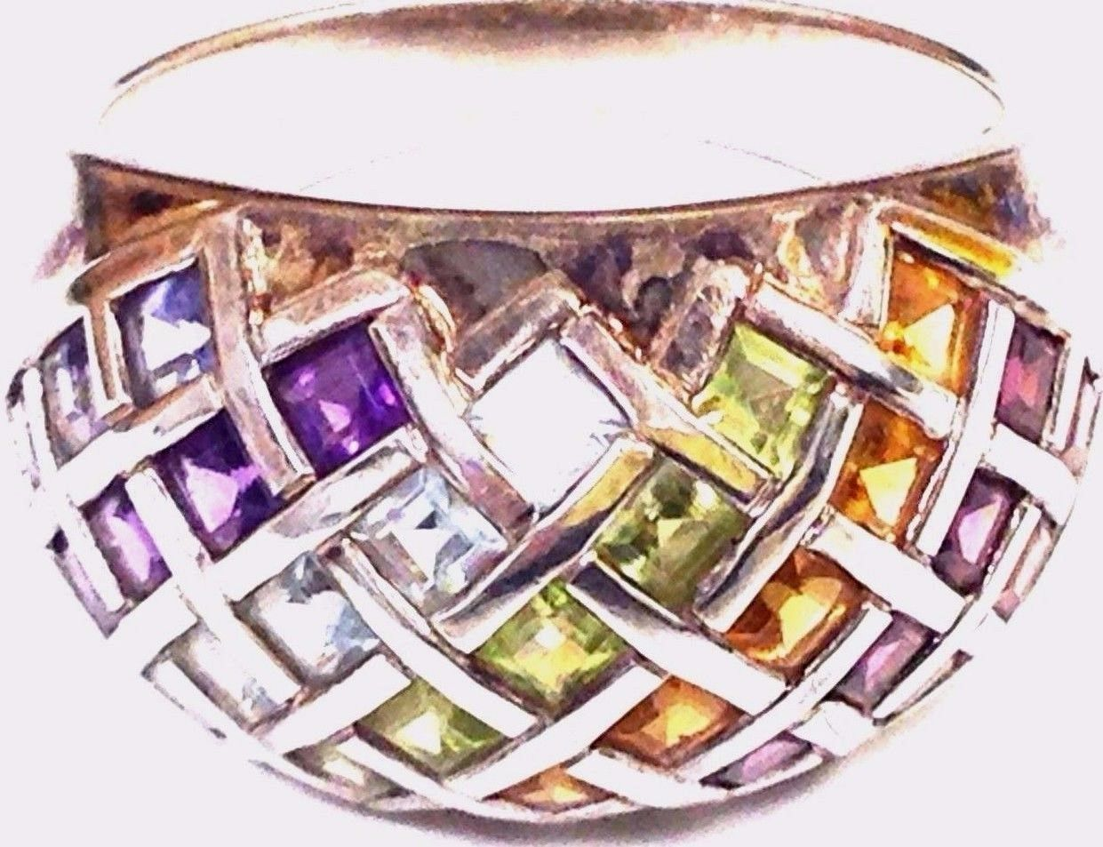 Primary image for VINTAGE STERLING SILVER MULTI GEMSTONE RING s 9 TOPAZ AMETHYST AQUA CITRINE +