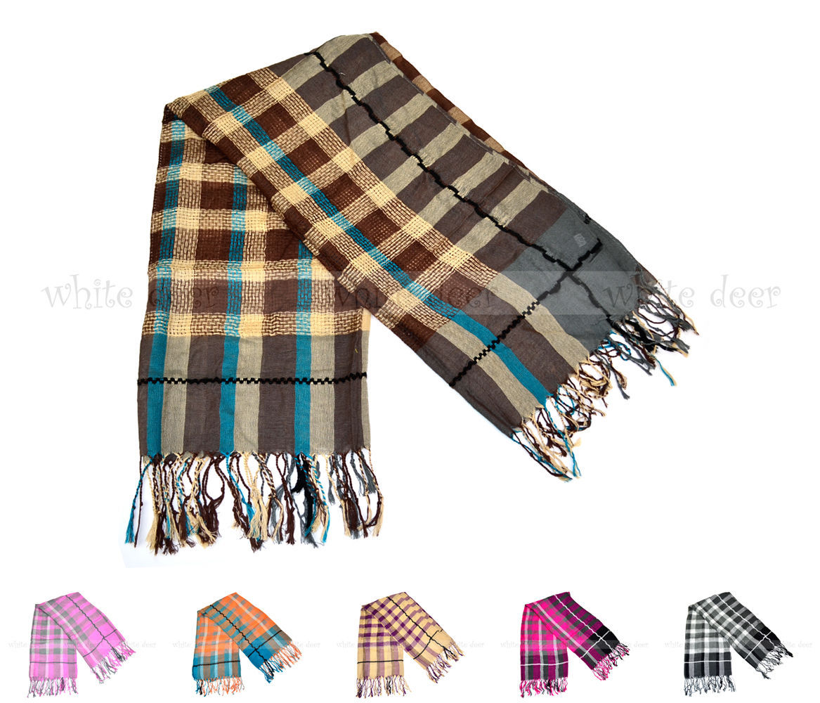 Primary image for Plaids & Checks Square Scarf Cotton Tear Drop Fringe Multi Color Fashion Cute