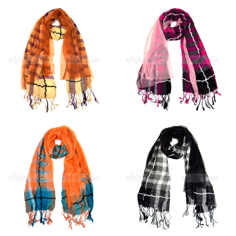 "72"" Plaids & Checks Double Layer Sewed On Scarf Tear Drop Fringe Multi Color - $6.45"