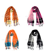 """72"""" Plaids & Checks Double Layer Sewed On Scarf Tear Drop Fringe Multi C... - $9.25"""