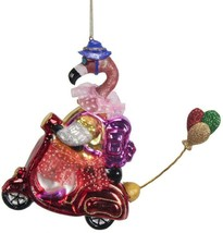 """Flamingo glass Christmas ornament 5.5"""" scooter, wearing backpack & skirt - $18.99"""