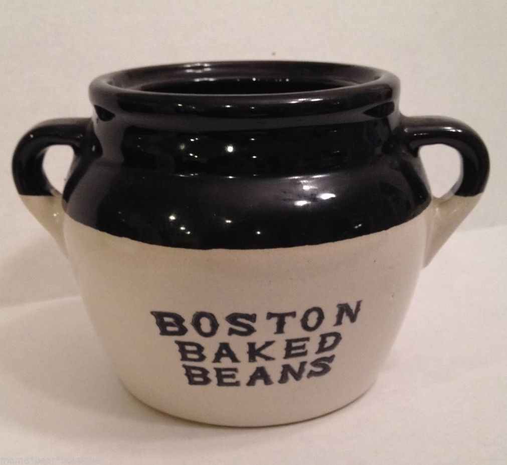 Primary image for Vintage Boston Baked Beans Crock Handle Pot USA Stoneware