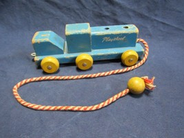 Vtg  Wood Playskool Rare Pull Toy 6 Wheel Train - $9.99