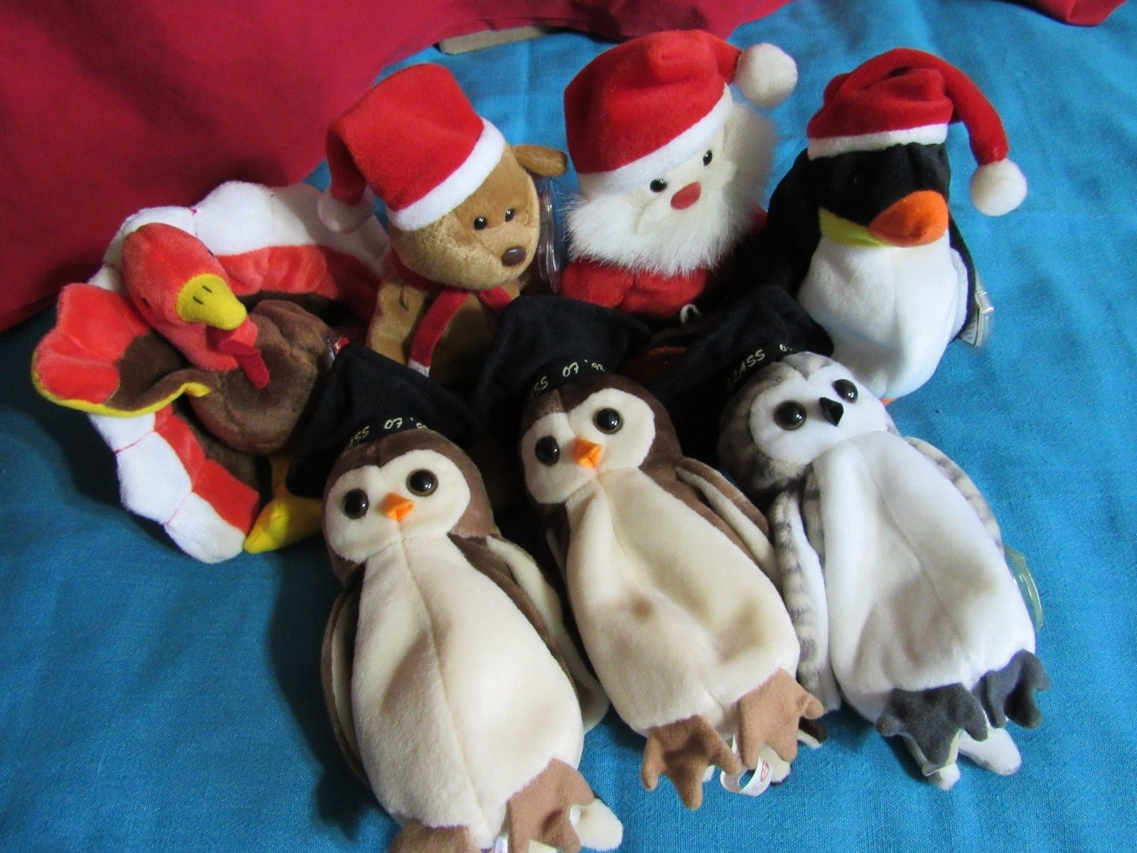 Primary image for TY Beanie Baby Lot Of 7 With Tags Holiday Thanksgiving Christmas Halloween