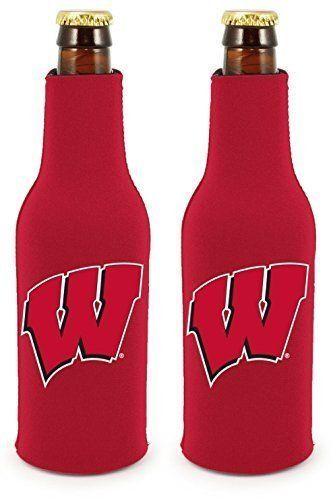 2 WISCONSIN BADGERS BEER SODA WATER BOTTLE ZIPPER KOOZIE COOLIE HOLDER NCAA