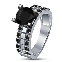 Women's Fashionable 925 Sterling Silver Round Black Lab Diamond Engageme... - $76.99