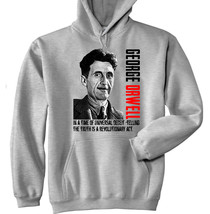 GEORGE ORWELL - NEW COTTON GREY HOODIE - ALL SIZES IN STOCK - $41.98