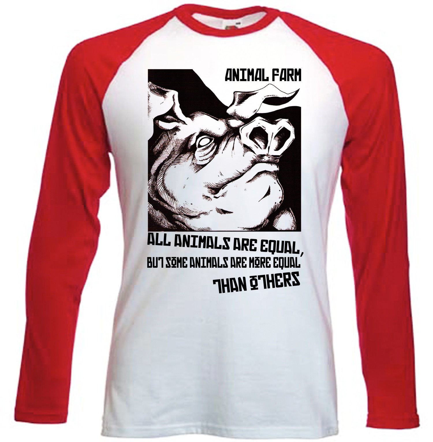 Primary image for ANIMAL FARM - GEORGE ORWEL - RED SLEEVED BASEBALL COTTON TSHIRT