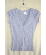 No Boundries Gray Ribbed Cap Sleeve Cotton Shirt  SZ Juniors L (10/13)  ... - $4.99