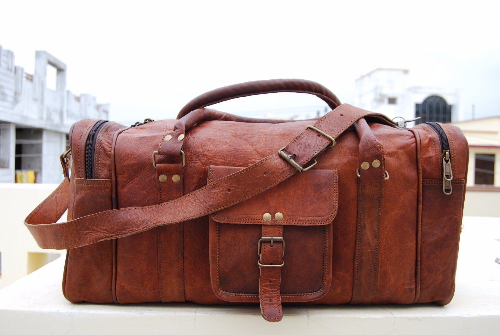 Primary image for HANDMADE REAL LEATHER DUFFEL BAG WEEKEND GYM OVERNIGHT CANVAS TRAVEL BAGS MENS