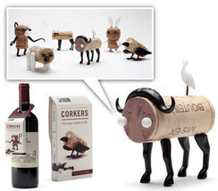 Corker Designer Funky Gifts Set 6 Lot Wine dinner table Party DIY Animal... - $49.00