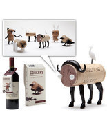 Corker Designer Funky Gifts Set 6 Lot Wine dinner table Party DIY Animal... - €39,31 EUR