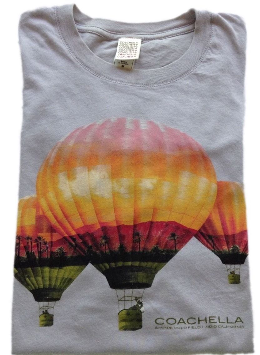 Primary image for Coachella 2012 Wms T-Shirt Sz Small  Air Balloons Full Line-Up Empire Polo Field