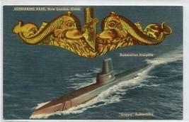 Guppy Submarine US Navy Base New London Connecticut linen postcard - $6.39