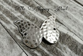 Butterfly Pendant Connector Antiqued Silver Hammered Charm Link 2 Hole H... - $1.29
